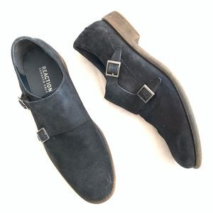 KENNETH COLE REACTION Navy Suede Buckle Loafers 11